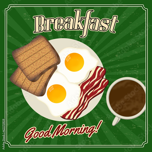 Retro breakfast poster