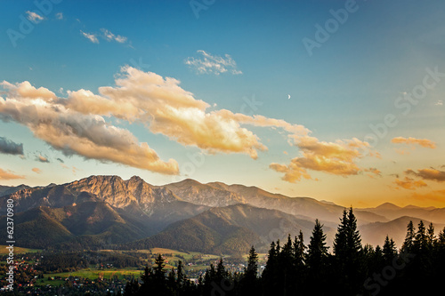 View on panorama of Tatras at sunset, Poland. © Nightman1965