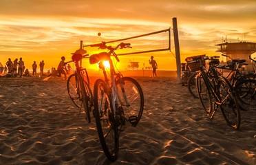 sunset beach volleyball at venice beach