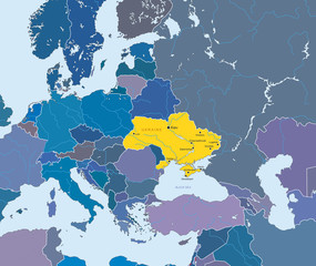 Vector map of European Union and indication of Ukraine
