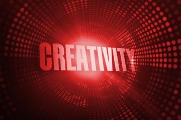 Creativity against red pixel spiral