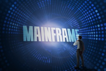 Mainframe against futuristic dotted blue and black background