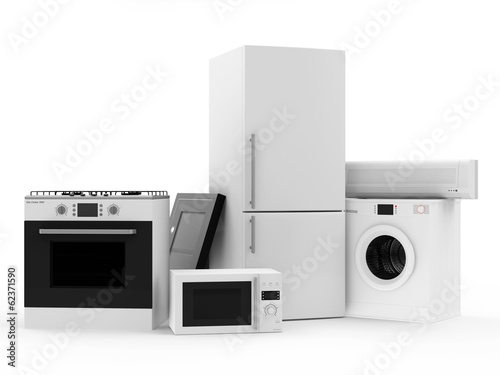 Group of home appliances. Refrigerator, Gas cooker, Cooker hood,
