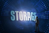 Storage against futuristic dotted blue and black background