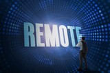 Remote against futuristic dotted blue and black background