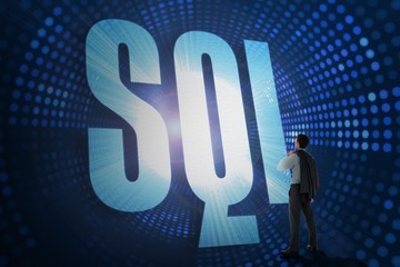 Sql against futuristic dotted blue and black background