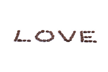 Word love by coffee beans