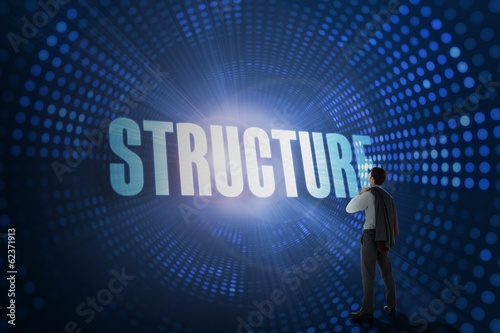 Structure against futuristic dotted blue and black background