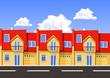 Colorful vector city, row building. Illustration