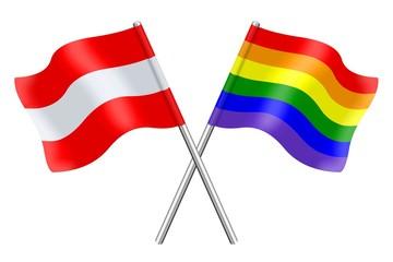 Fahnen: Österreich und der Regenbogen
