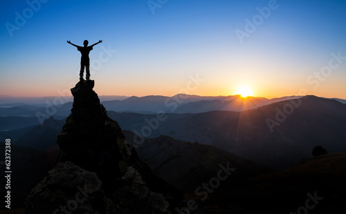 Tuinposter Alpinisme concept of success, sports, victory