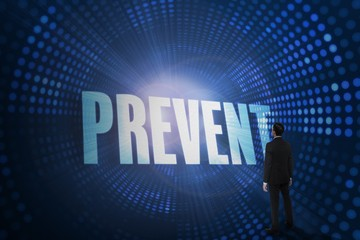 Prevent against futuristic dotted blue and black background