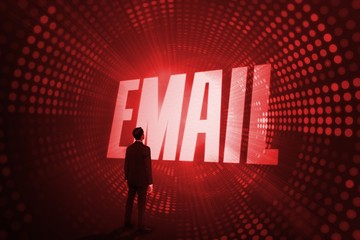 Email against red pixel spiral