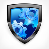 Shield with blue gear isolated on white, mechanical vector