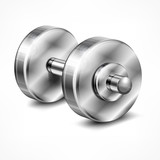 Dumbbell, fitness and healthy lifestyle concept on white,