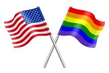 Flags: United States and rainbow