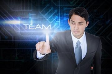 Team against futuristic black and blue background