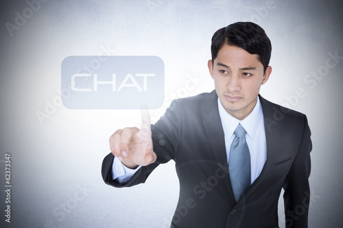 Chat against white wall