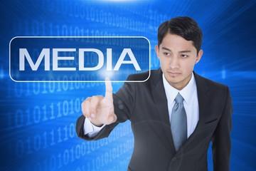 Media against futuristic shiny binary code