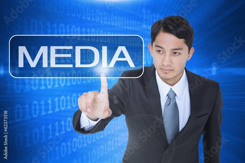 Media against futuristic shiny binary code