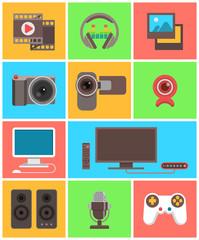 Modern flat multimedia icons