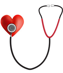 Stethoscope on a Heart ECG Trace