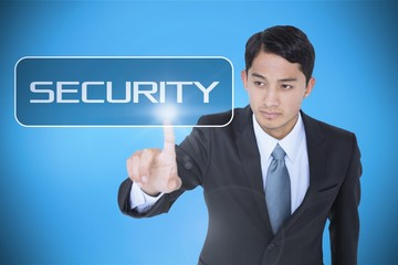 Security against blue background with vignette
