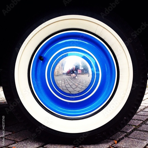 blue old wheel