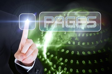 Businesswomans finger touching Pages button