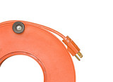 Power cord extender plug on orange plastic spool.