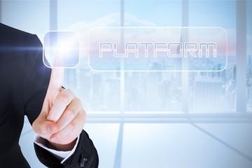 Businesswomans finger touching Platform button
