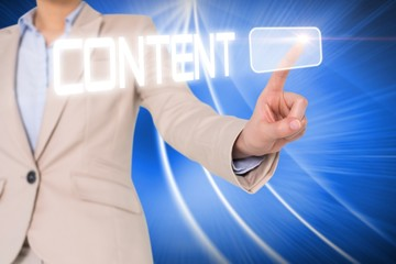 Businesswomans finger touching content button