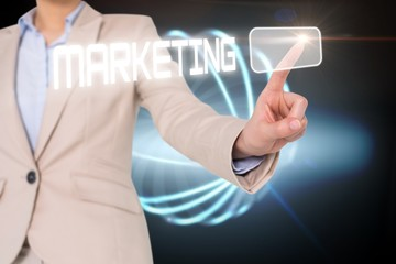 Businesswomans finger touching marketing button