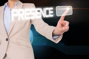 Businesswomans finger touching presence button