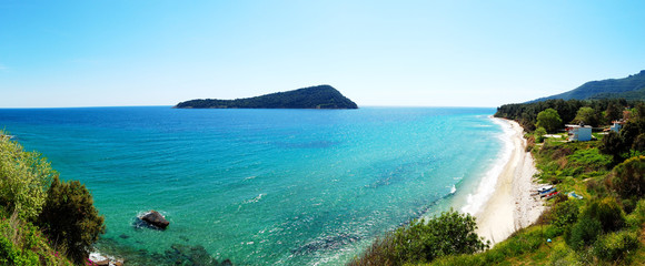 Panorama of the beach, Thassos island, Greece