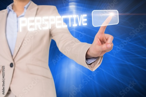 Businesswomans finger touching perspective button
