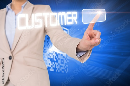 Businesswomans finger touching customer button