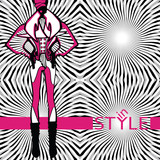Fashionable woman in abstract background.Fashion Illustration
