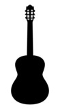 Acoustic guitar. Vector silhouette on a white background.