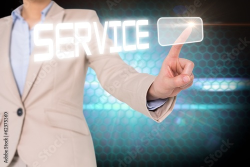 Businesswomans finger touching service button