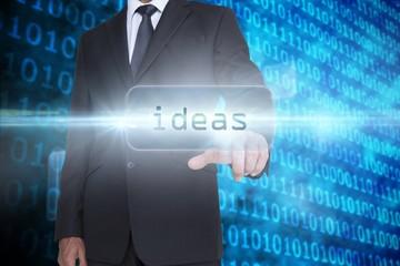 Ideas against shiny blue binary code on black background