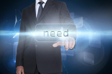 Need against glowing technological background