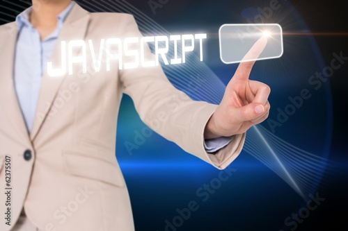 Businesswomans finger touching javascript button