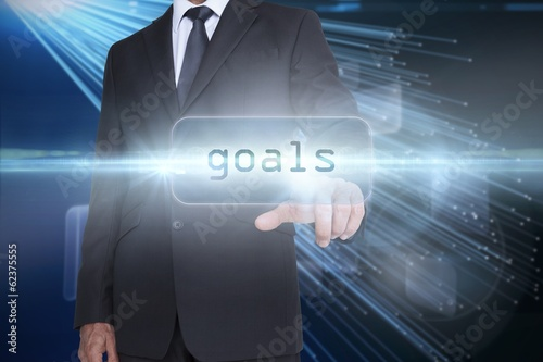 Goals against abstract technology background