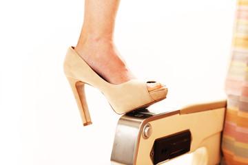 beige Peeptoe High Heels