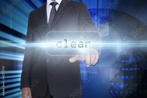 Clear against digital earth background