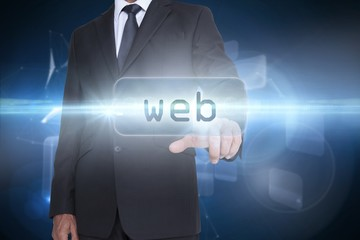 Web against glowing technological background