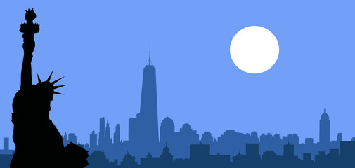 New York Skyline at night - Vector