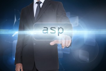 Asp against glowing technological background