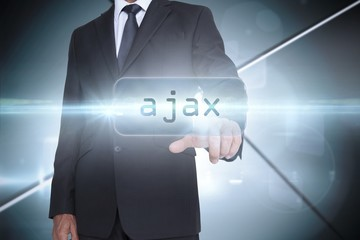 Ajax against futuristic screen with lines
